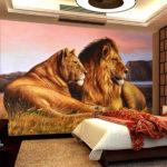 фотообои в спальню со львами