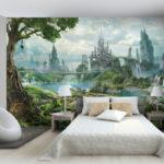 фотообои в спальню со сказочным замком