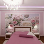 фотообои в спальню с розами
