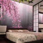 фотообои в спальню с сакурой
