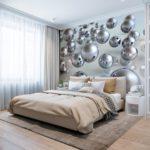 фотообои в спальню с шарами