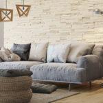 гипсовая плитка над диваном