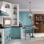 кнтри стиль в голубой кухне