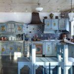 голубая кухня в стиле прованса