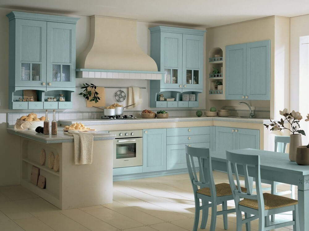 голубой прованс на кухне