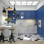 голубые шкафы на кухне