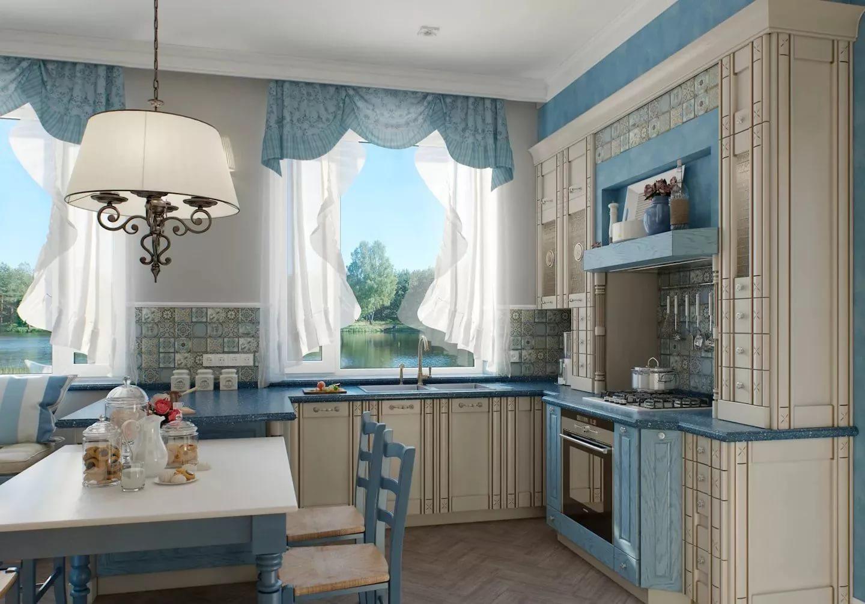 голубые занавески для кухни