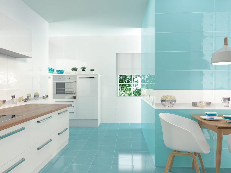 голубой пол для кухни