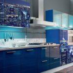 интересная синяя кухня