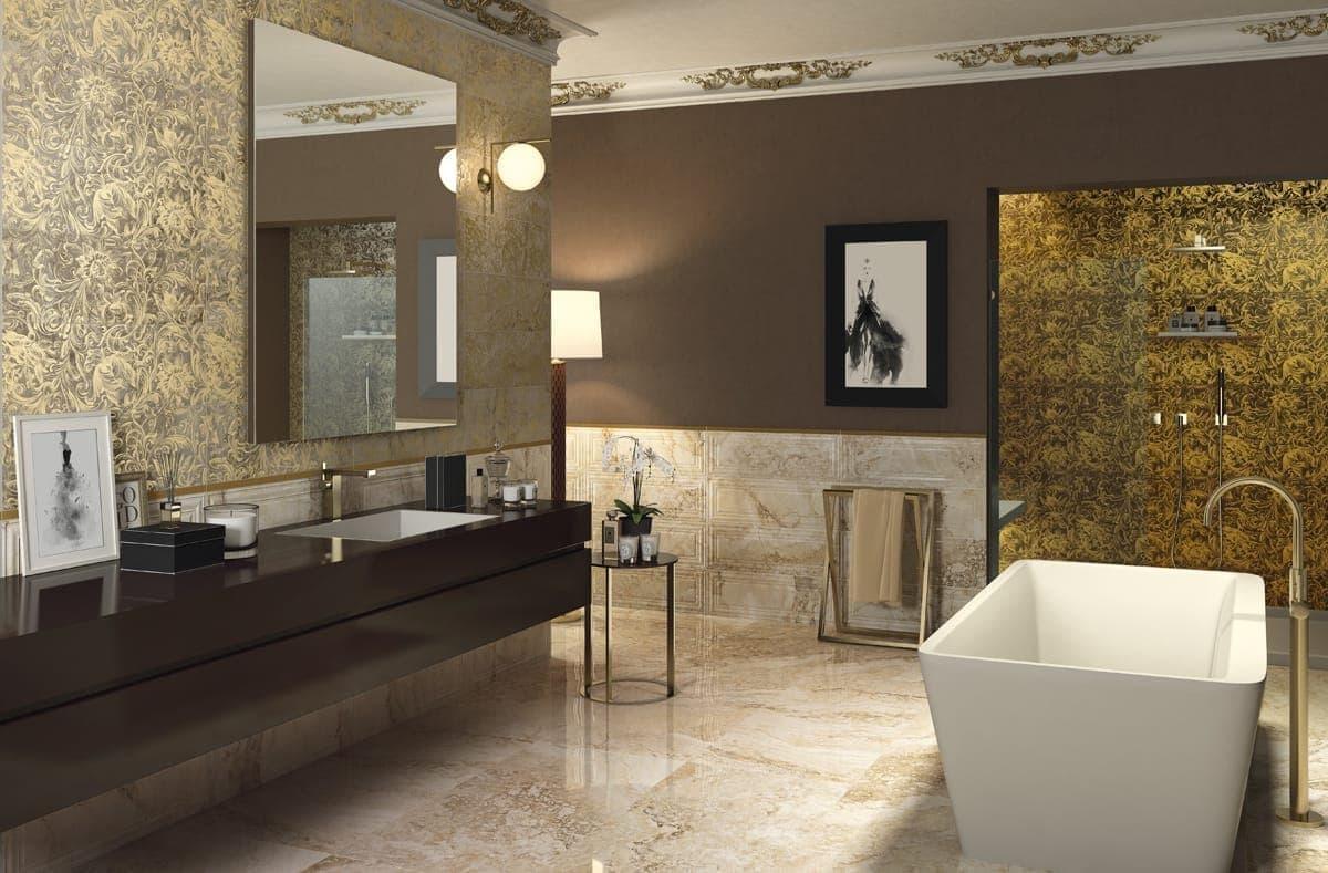 Стильное оформление комнаты итальянской плиткой