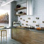 плитка кабанчик под кирпич на кухне