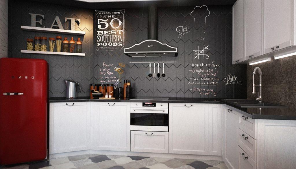 черно-белая кухня в стиле лофт