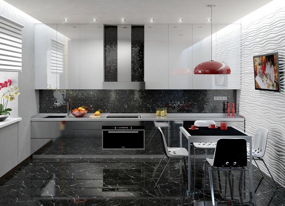 красные детали в черно-белом интерьере