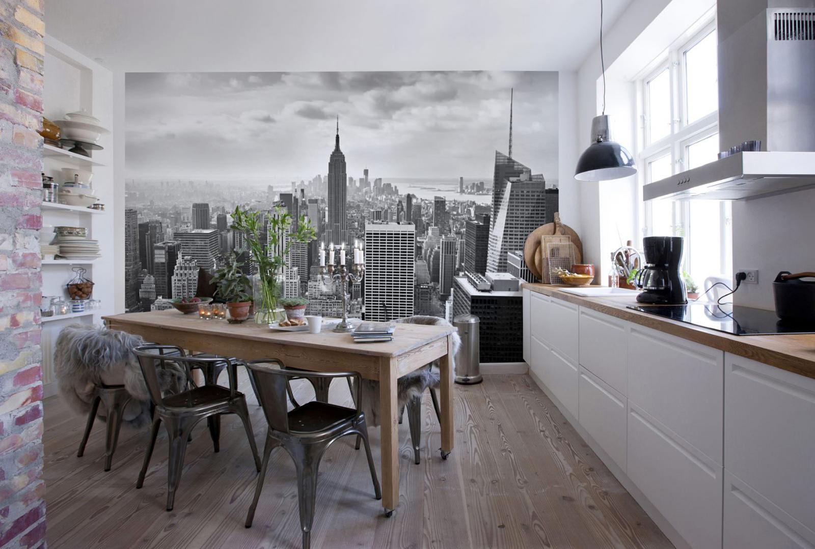 фотообои на черно-белой кухне