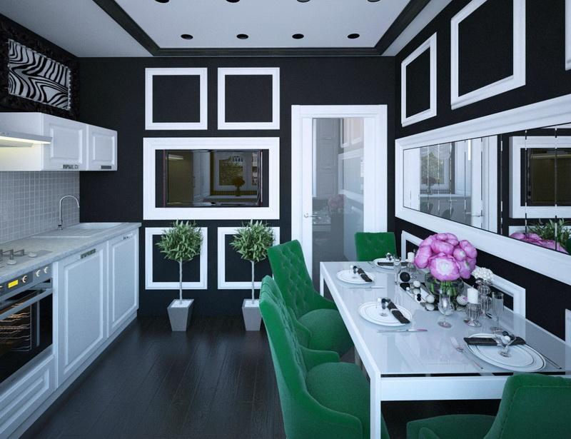 третий цвет в черно-белой кухни