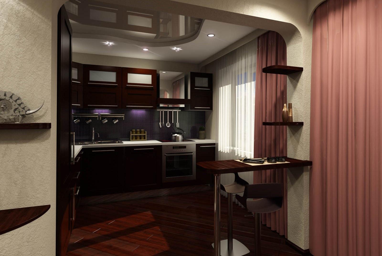 зонирование кухни и прихожей