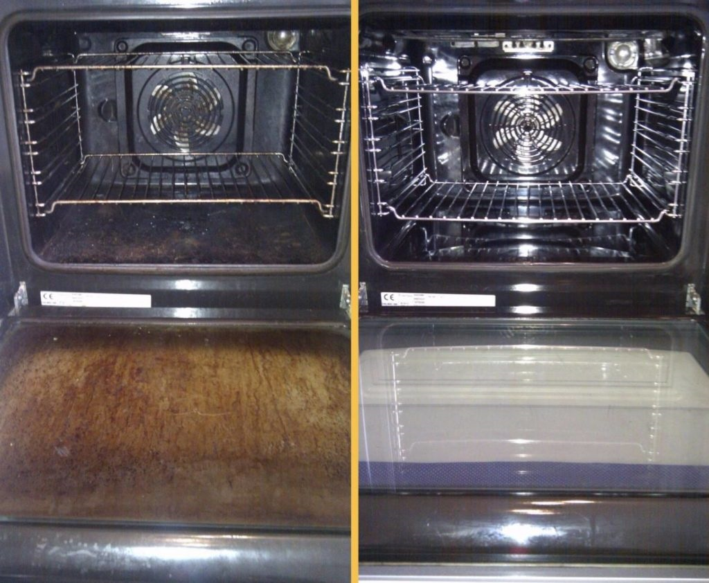 как почистить стекло в духовке