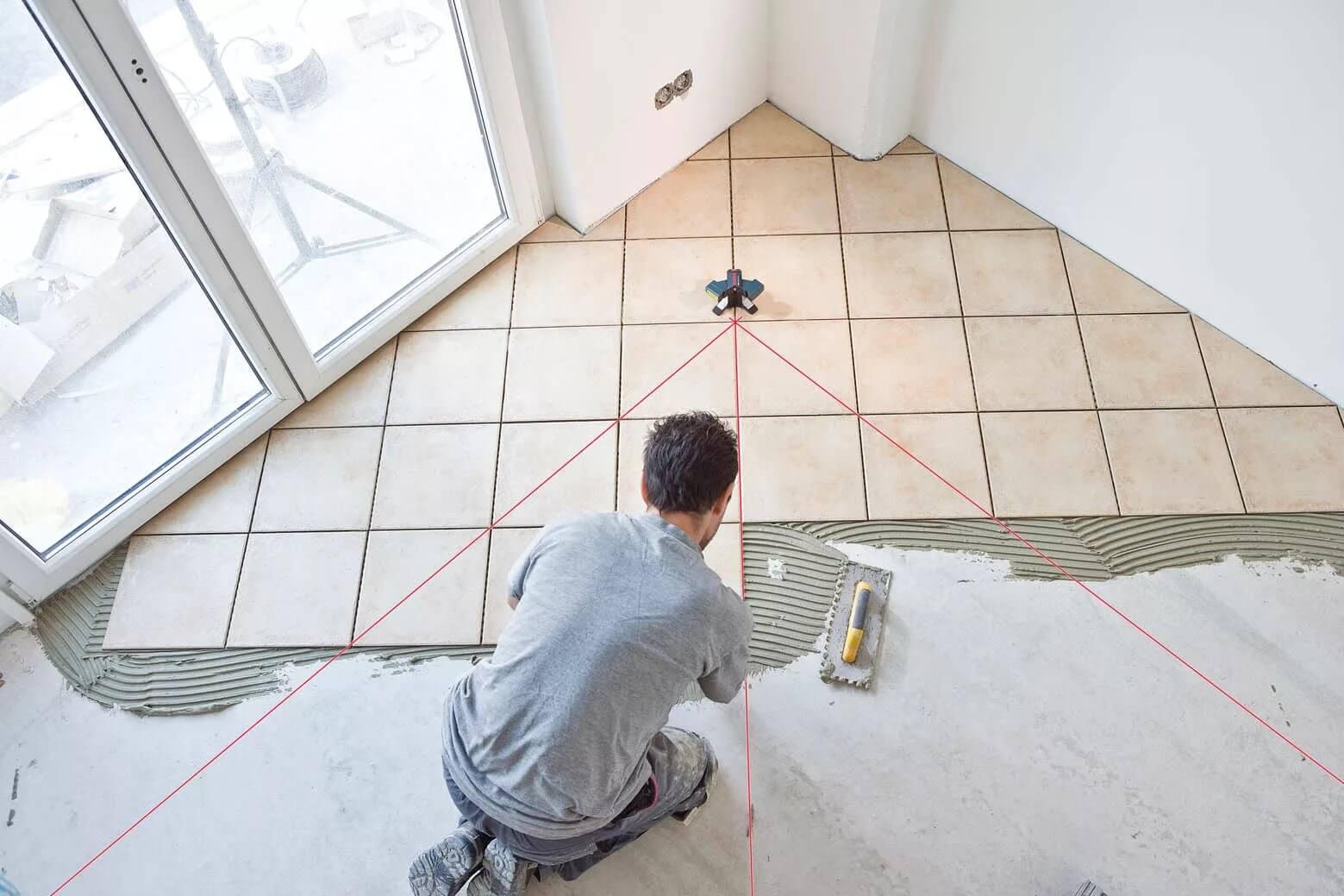 Разметка плитки на полу