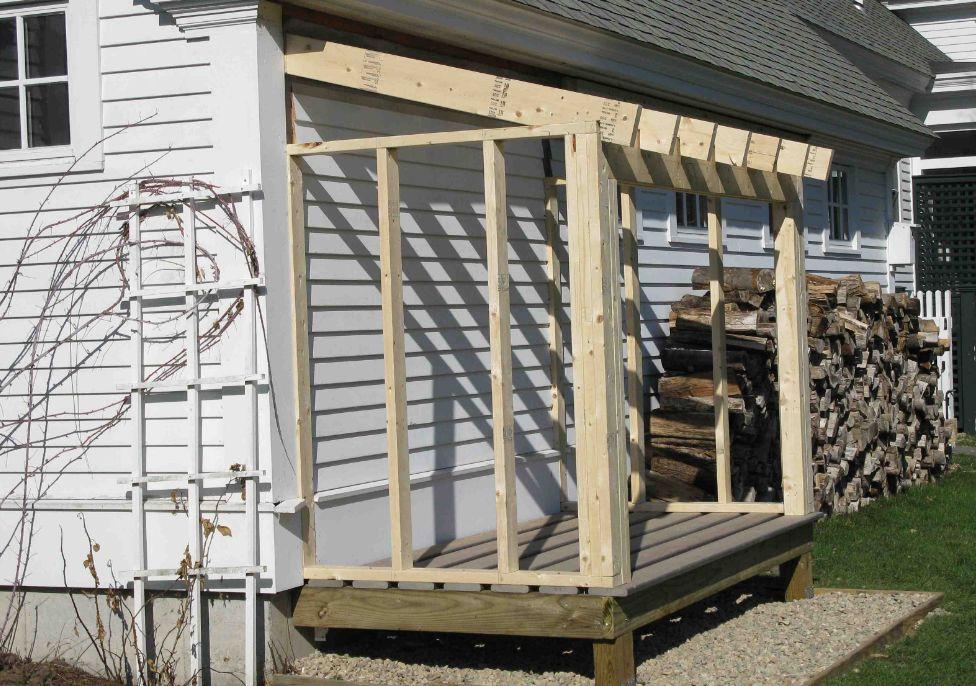 основание и каркас для дровяника у дома