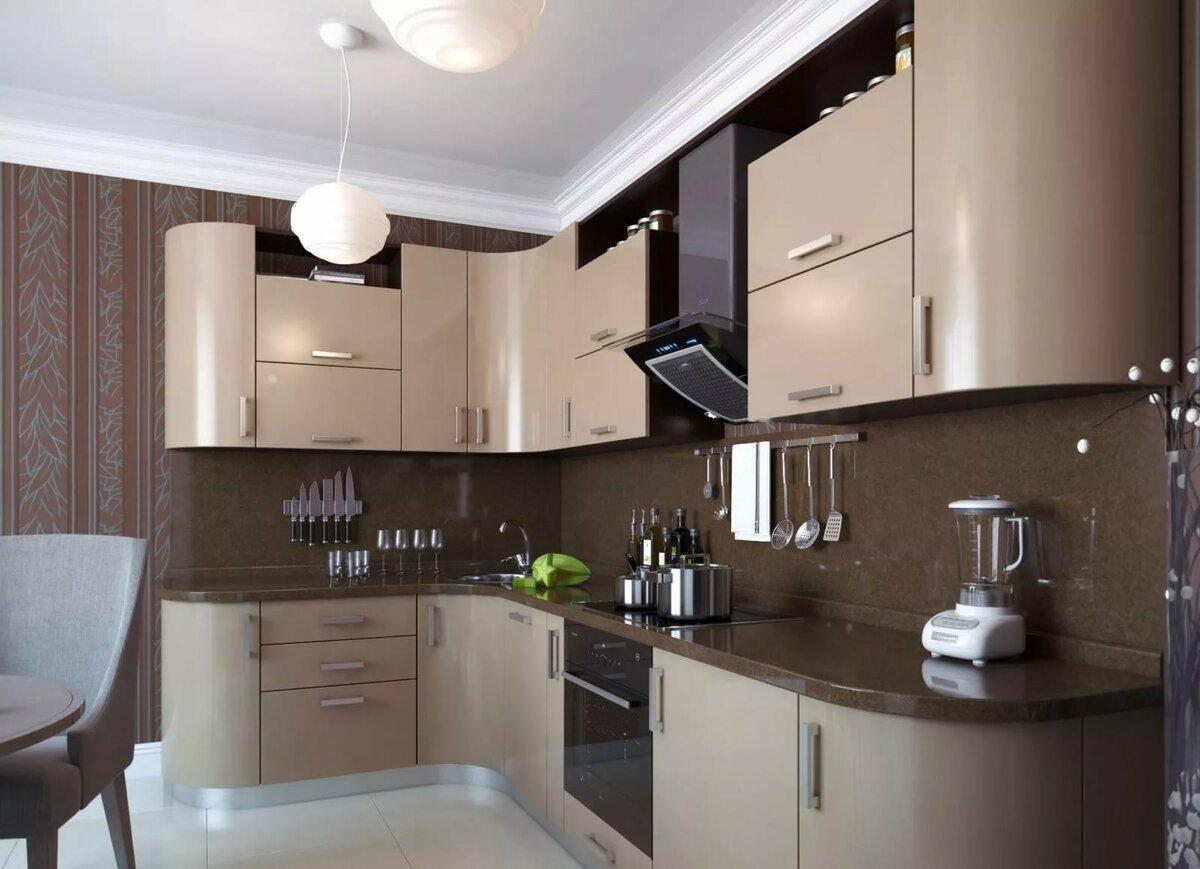 кофейный цвет стен и потолка на кухне