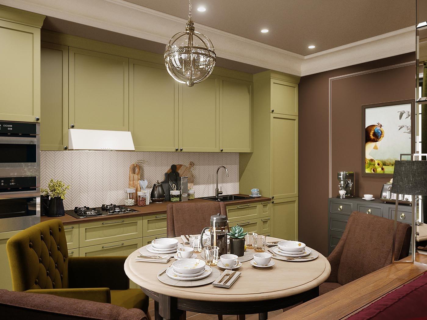 кухня в коричнево-оливковых тонах