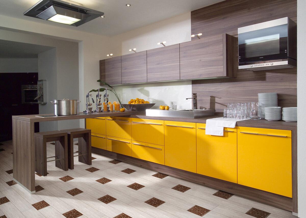 Оформление кухни - сочетание цветов и материалов