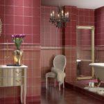 вариант красной испанской плитки в ванной