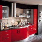 как сделать красную мебель на кухню