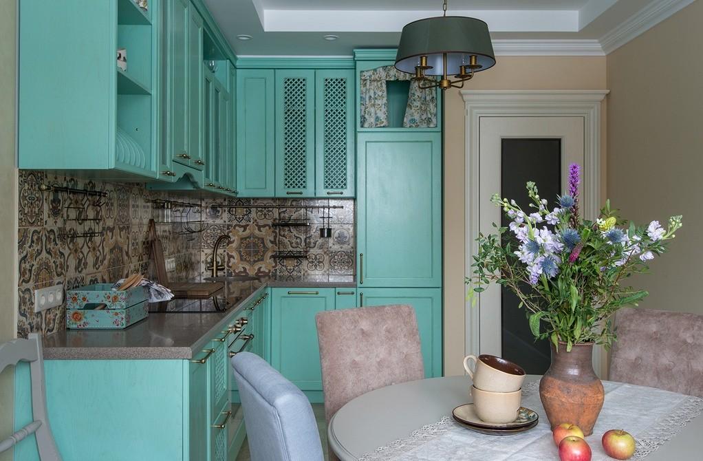 Прованс - оформление кухни в мятном цвете