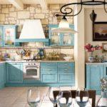 необычная голубая кухня