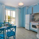 современная голубая кухня