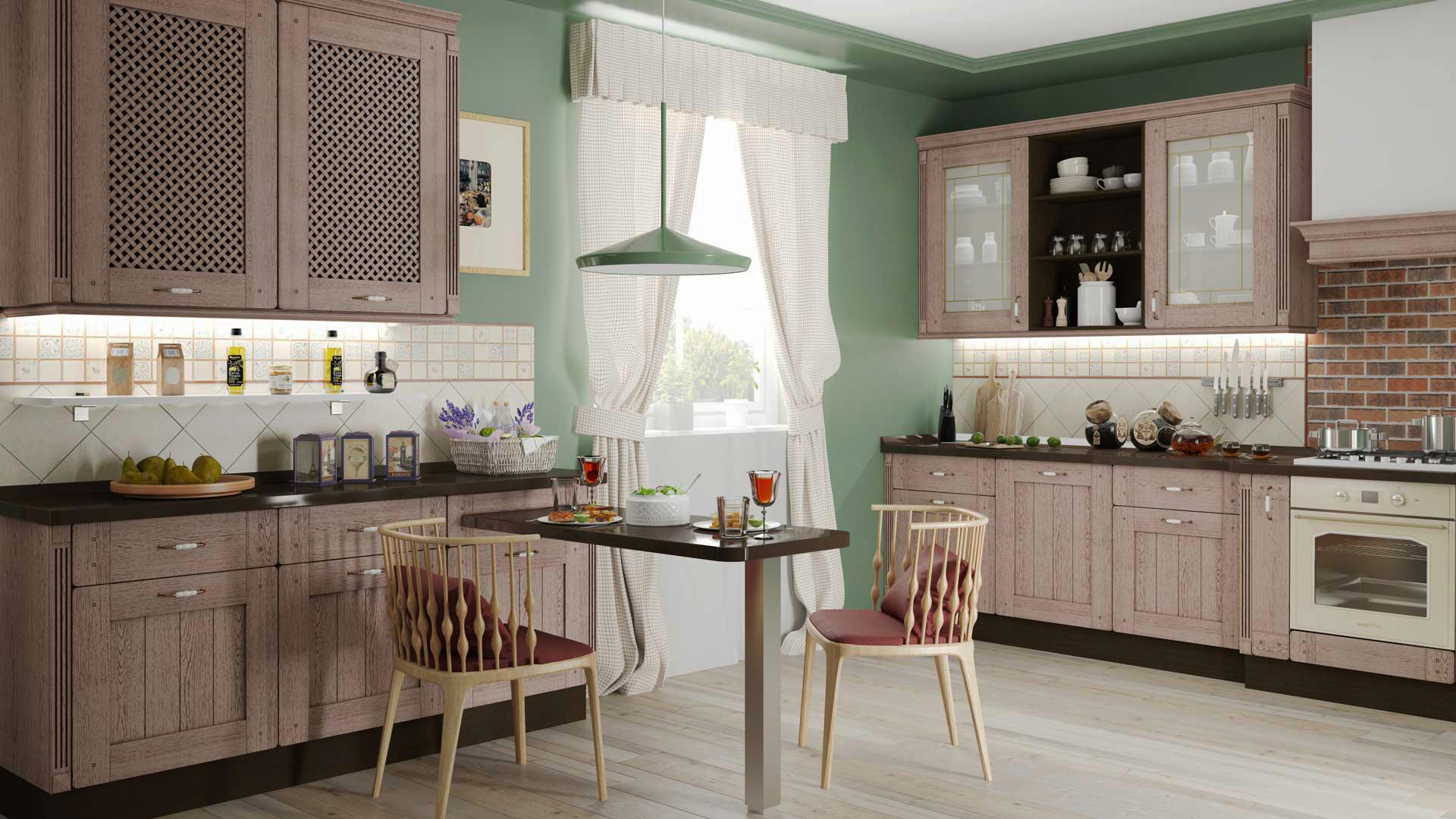 кухня кофейного цвета прованс