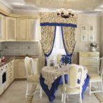 шторы с рюшеми на кухне прованс