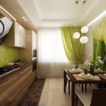 салатовые шторы на кухне