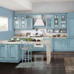 голубые фасады для кухни