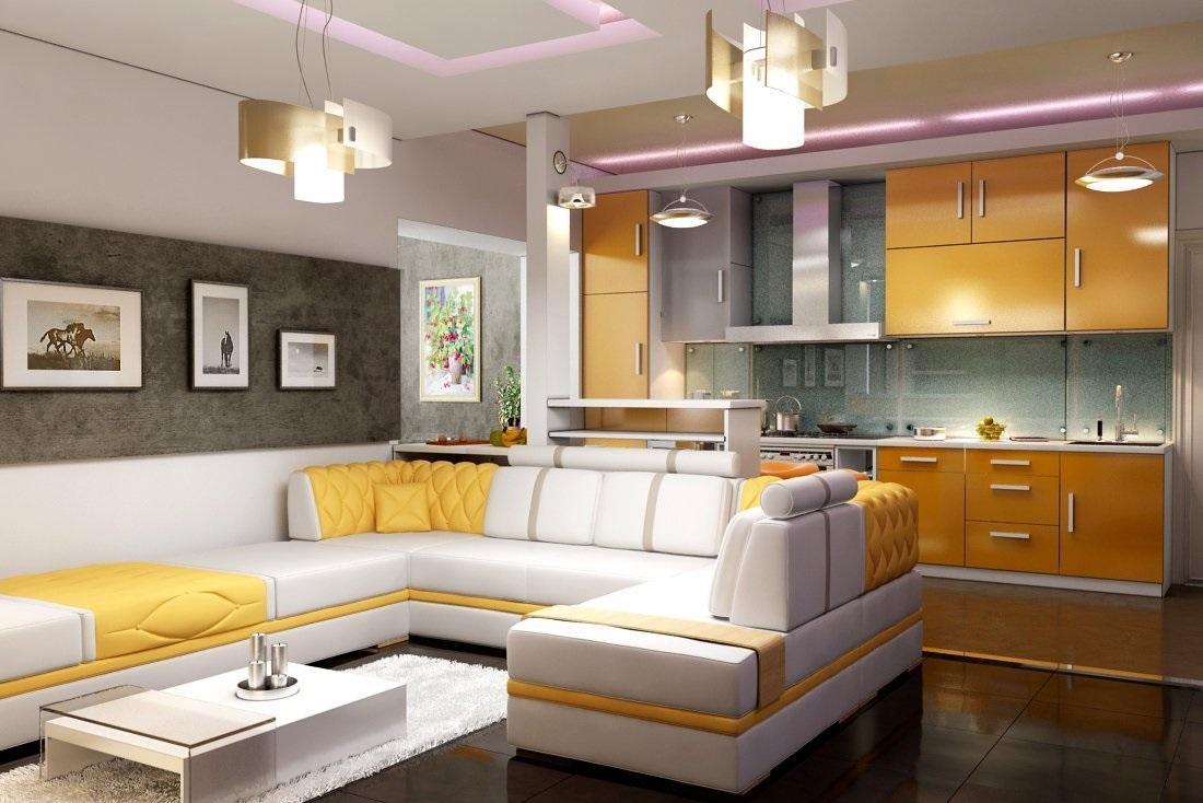 желтая кухня и прихожая