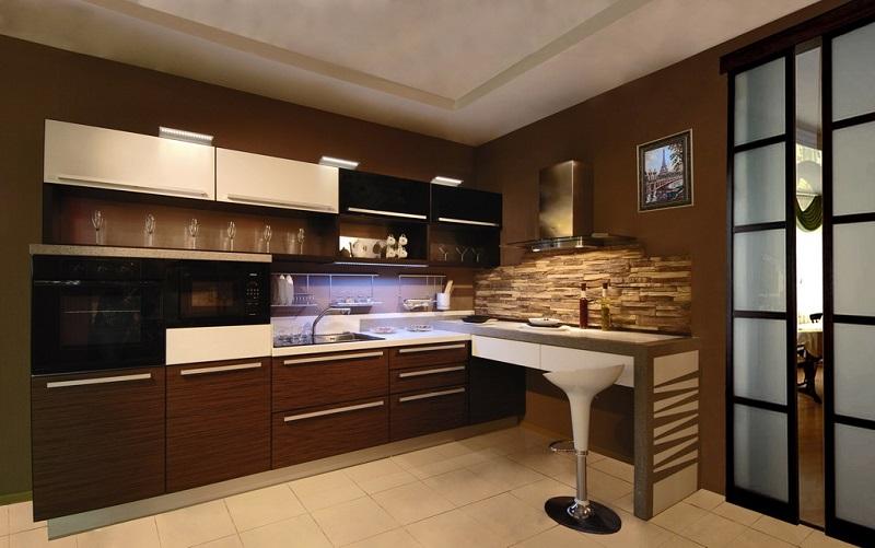 стены на кухне в цвете венге