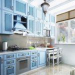 голубая мебель для кухни