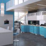 глянцевая мебель для голубой кухни