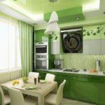 кухня оформленная салатовым цветом
