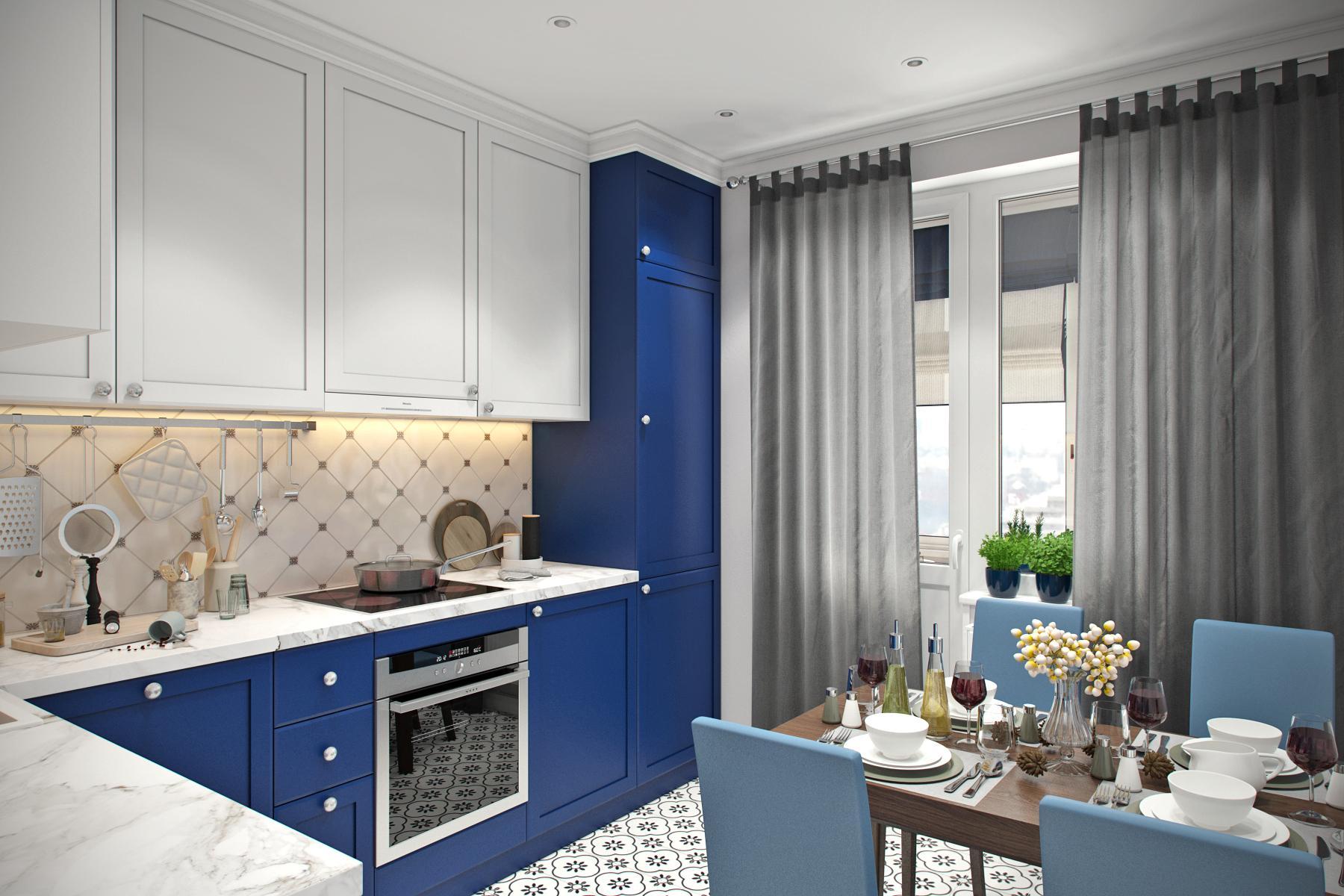 серые шторы на синей кухне