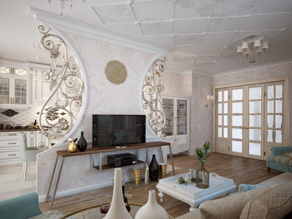перегорока между кухней и гостиной белого цвета с орнаментом