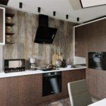 лаконичная деревянная кухня
