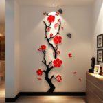 черное дерево с красными цветами