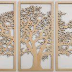 дерево на стене в три полотна