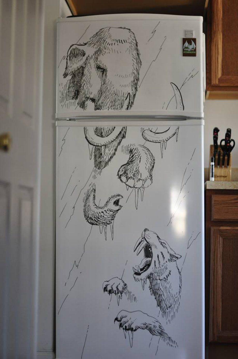 рисовать на холодильнике
