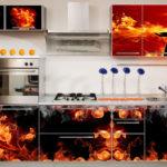 огненный декор холодильника