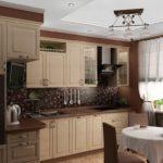 освещение на кухне кофейного цвета