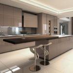 барная стойка на кухне кофейного цвета