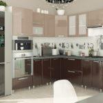 мебель на кухне - темный низ, светлый верх